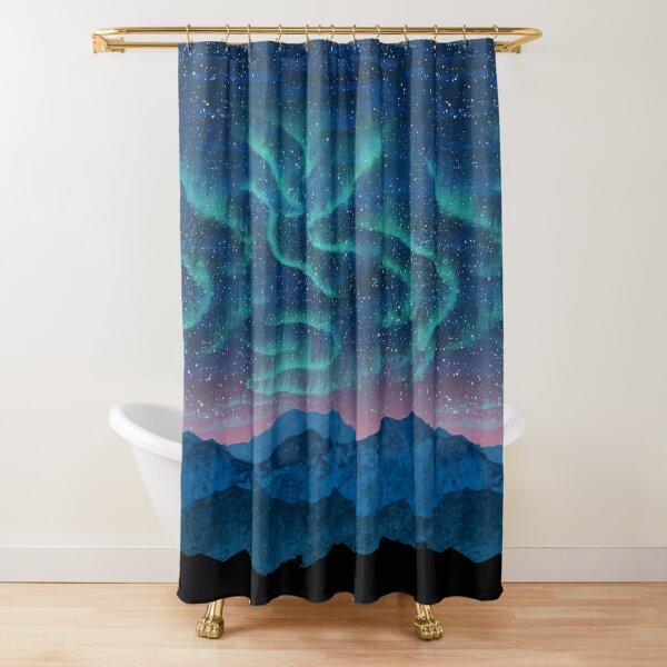 Aurora borealis over mountains Shower Curtain