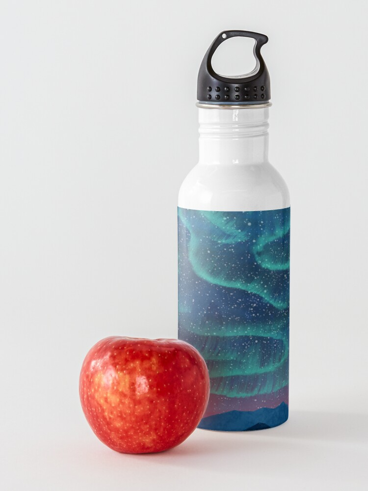 Alternate view of Aurora borealis over mountains Water Bottle