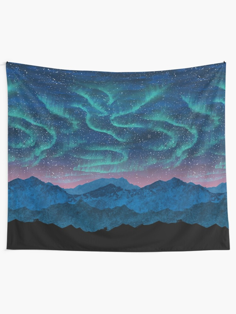 Alternate view of Aurora borealis over mountains Tapestry