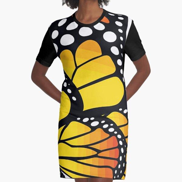 Beautiful Monarch Butterfly - Orange Graphic T-Shirt Dress