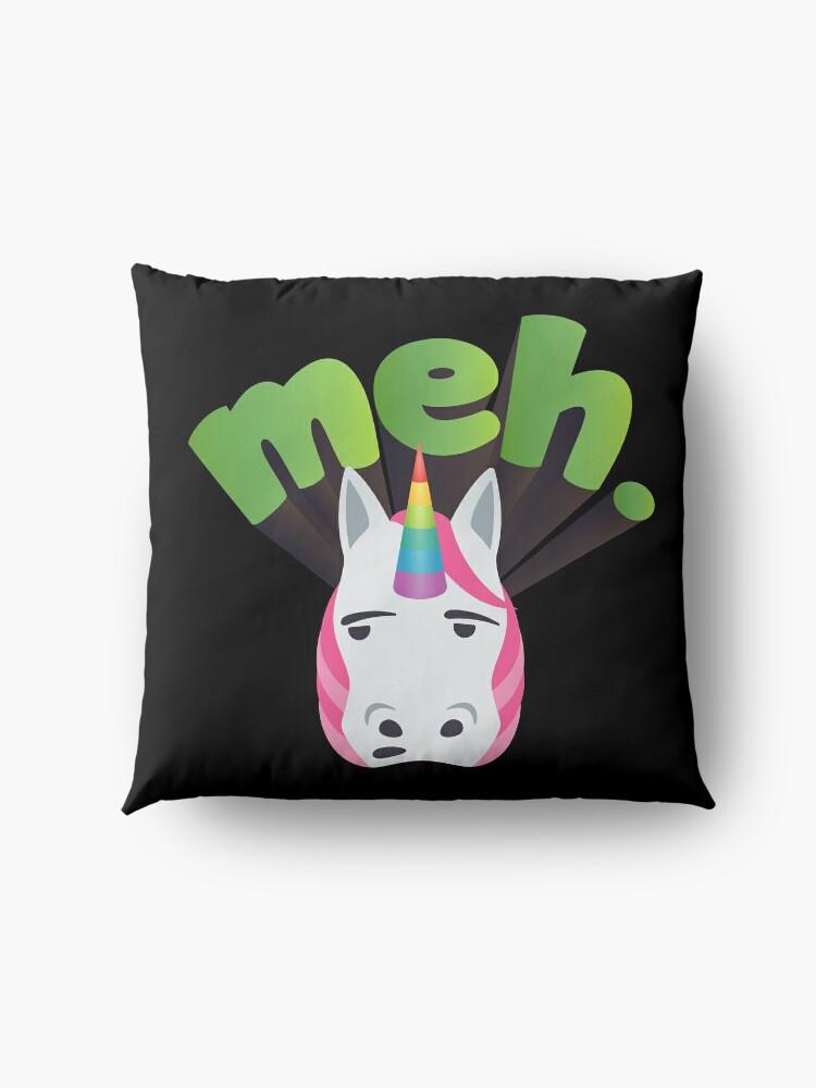 Alternate view of Unicorn Meh Emoji Meme Floor Pillow