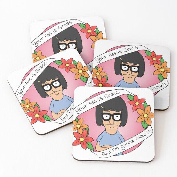 """Tina """"Your Ass is Grass"""" Coasters (Set of 4)"""