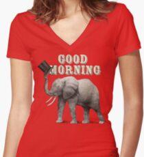 Guten Morgen Tailliertes T-Shirt mit V-Ausschnitt