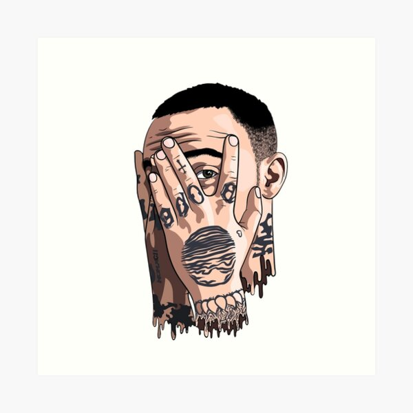 Mac miller face drawing Art Print
