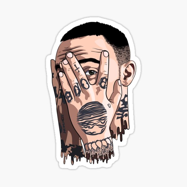 Mac miller face drawing Sticker