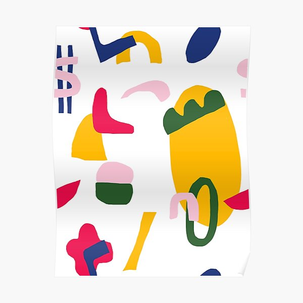 Abstract Quirky Colorful Shapes Poster