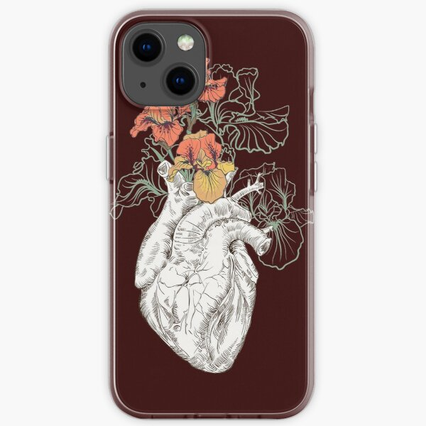 drawing Human heart with flowers iPhone Soft Case