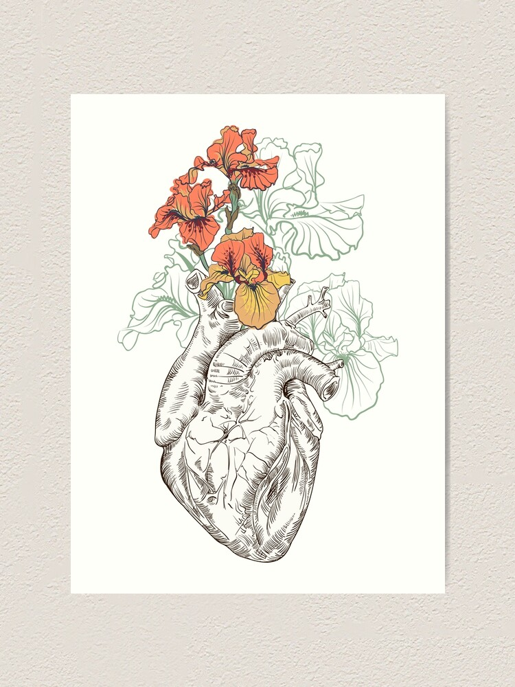 Alternate view of drawing Human heart with flowers Art Print