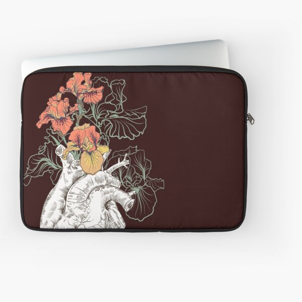 drawing Human heart with flowers Laptop Sleeve