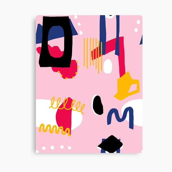 Pink Abstract Shaped Doodle Canvas Print