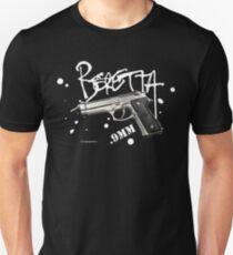 Beretta 9mm Pistol -white script T-Shirt