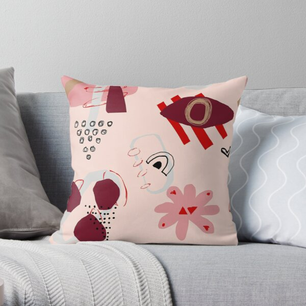 Coral Abstract Floral Colorful Shapes Throw Pillow
