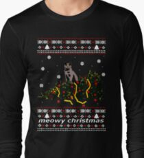 ugly sweater - christmas tree knocked down by a cat T-Shirt
