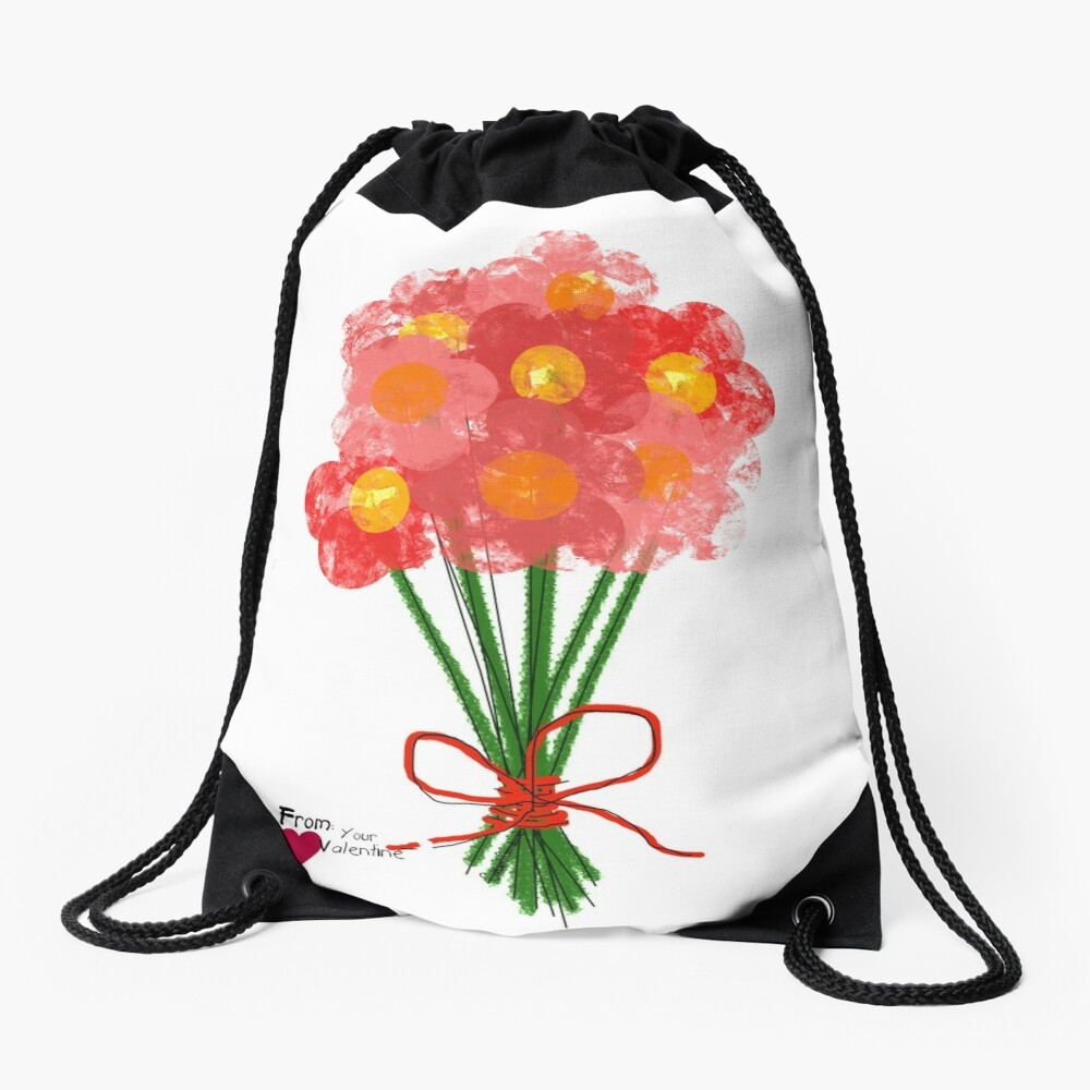 Pink Flower Bouquet for Valentines Day Drawstring Bag
