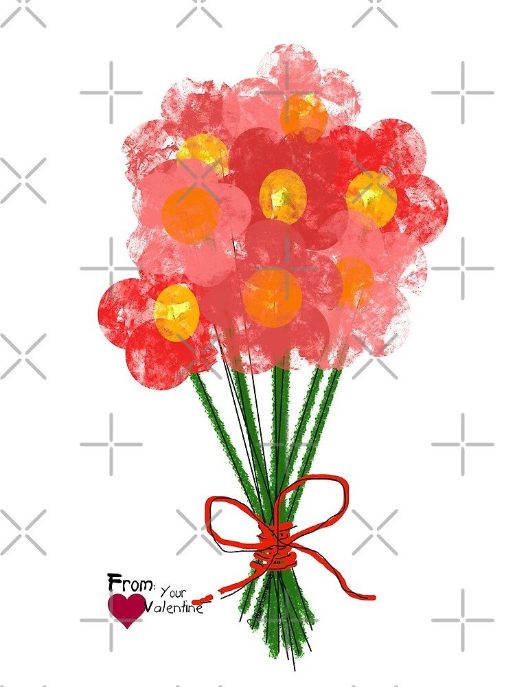 Pink Flower Bouquet for Valentines Day by ButterflysAttic