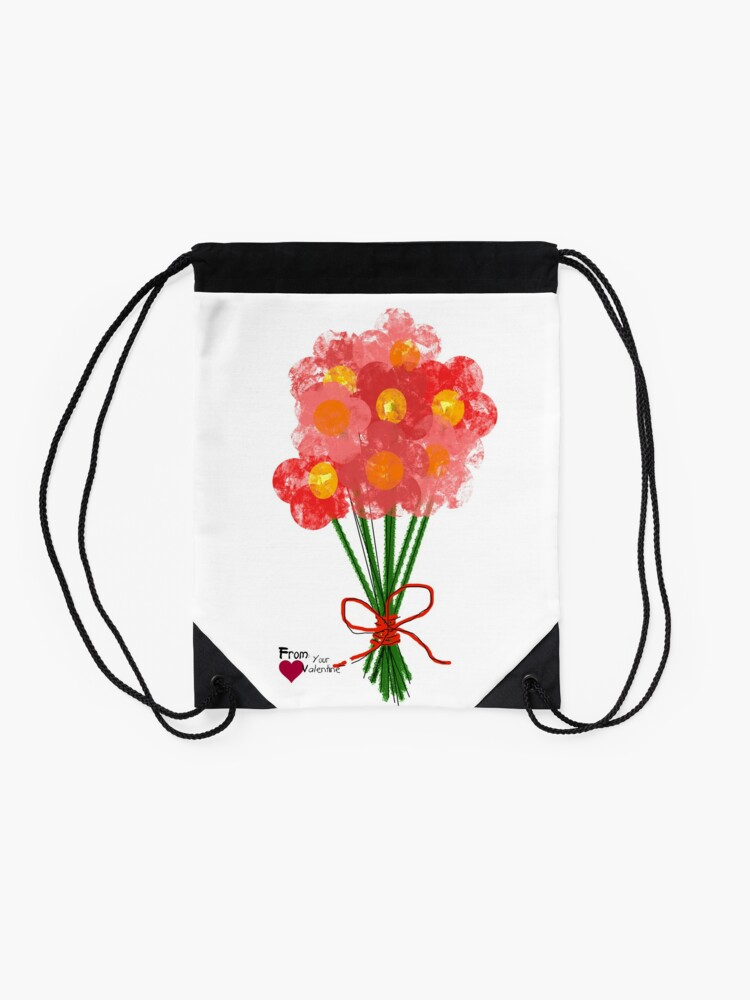 Alternate view of Pink Flower Bouquet for Valentines Day Drawstring Bag