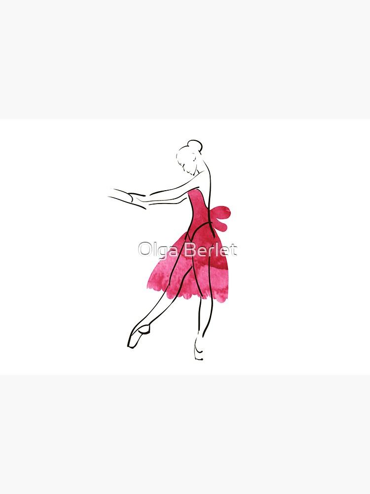 Vector hand drawing ballerina figure, watercolor illustration by OlgaBerlet