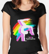 VIBRANT RAINBOW GYMNASTICS DESIGN Women's Fitted Scoop T-Shirt