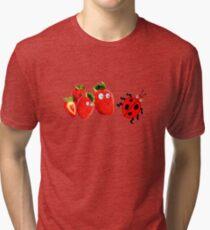 funny strawberries & cute lady bug graphic art Tri-blend T-Shirt