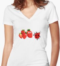 funny strawberries & cute lady bug graphic art Women's Fitted V-Neck T-Shirt