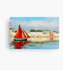 Leaving Port - Galway Hooker going out to sea Metal Print