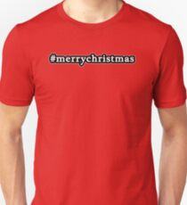 Merry Christmas - Hashtag - Black & White T-Shirt