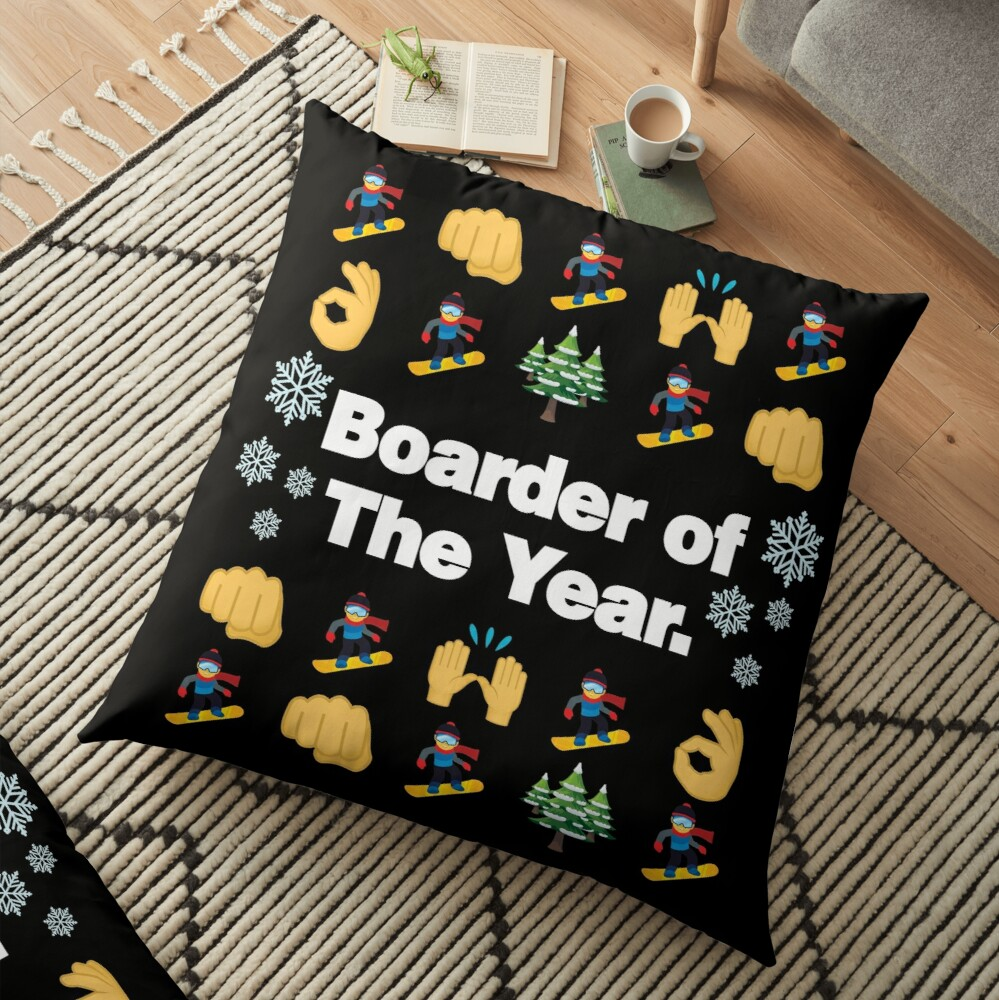 Boarder of The Year Emoji Snowboarder Saying Floor Pillow