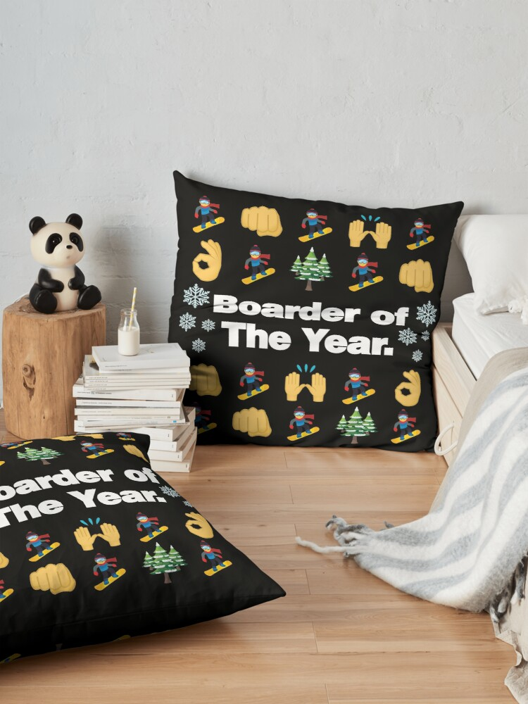 Alternate view of Boarder of The Year Emoji Snowboarder Saying Floor Pillow