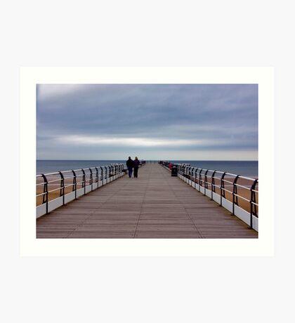 Walking on the Pier Art Print