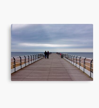 Walking on the Pier Metal Print