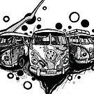 Hippie Van Happy Life drawing by ARTbubble