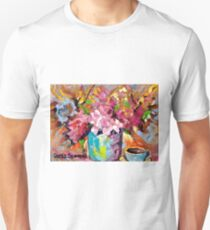 BEAUTIFUL ABSTRACT FLORAL BOUQUET WITH COFFEE CUP ORIGINAL PAINTING FOR SALE T-Shirt
