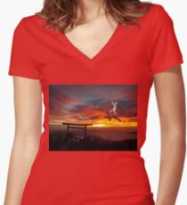 Latias in Japan Women's Fitted V-Neck T-Shirt