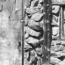 Old Wood Door Window and Stone BW by Bo Insogna