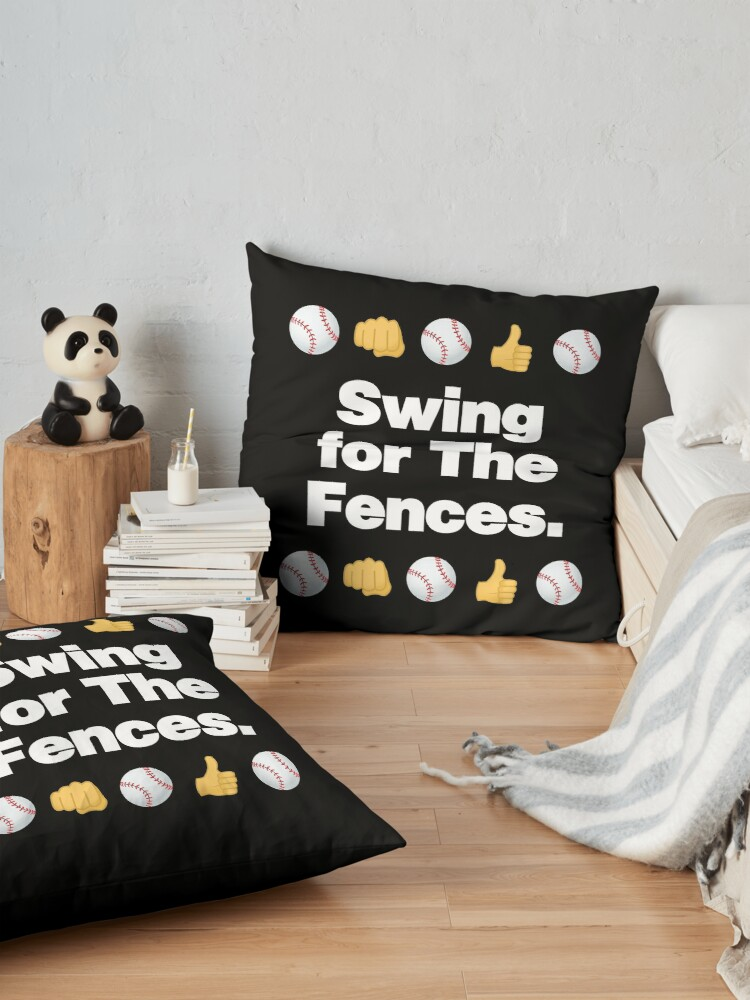 Alternate view of Swing for the Fences Emoji Baseball Saying Floor Pillow