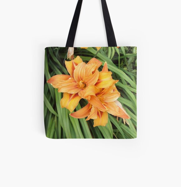 Orange Lilies on Green All Over Print Tote Bag