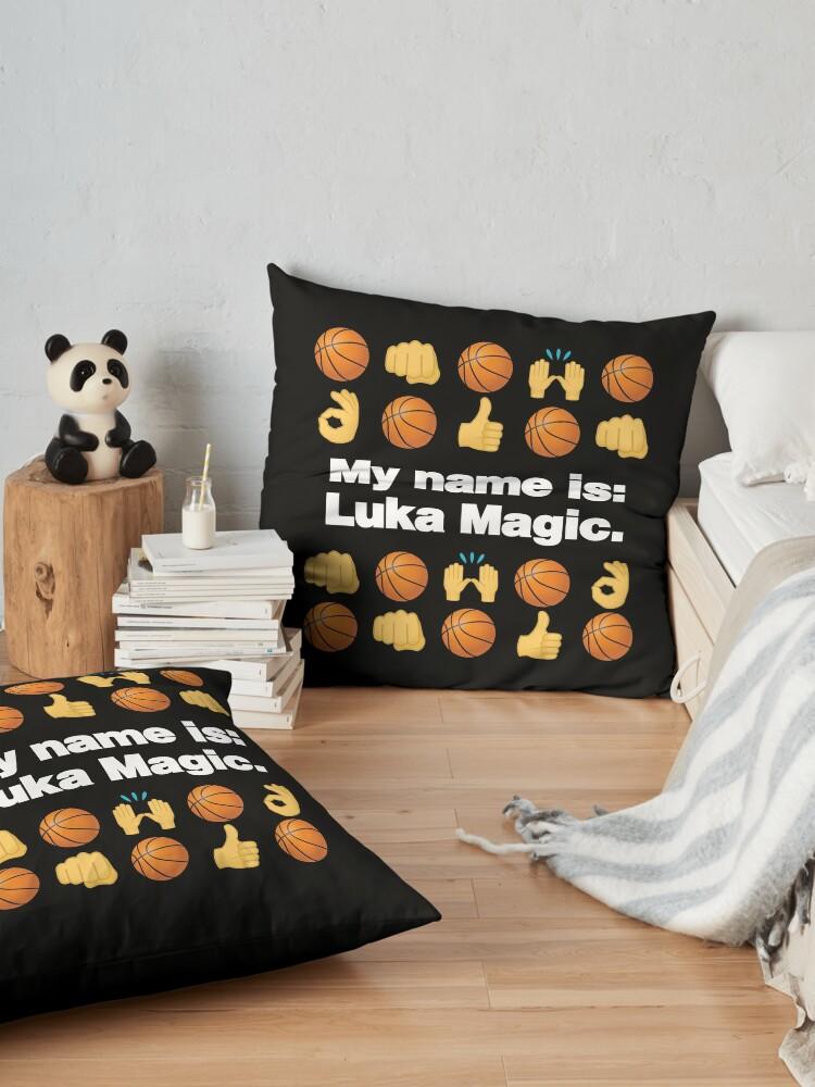 Alternate view of My Name is Luka Emoji Basketball Funny Saying Floor Pillow