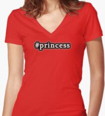 Princess - Hashtag - Black & White Women's Fitted V-Neck T-Shirt