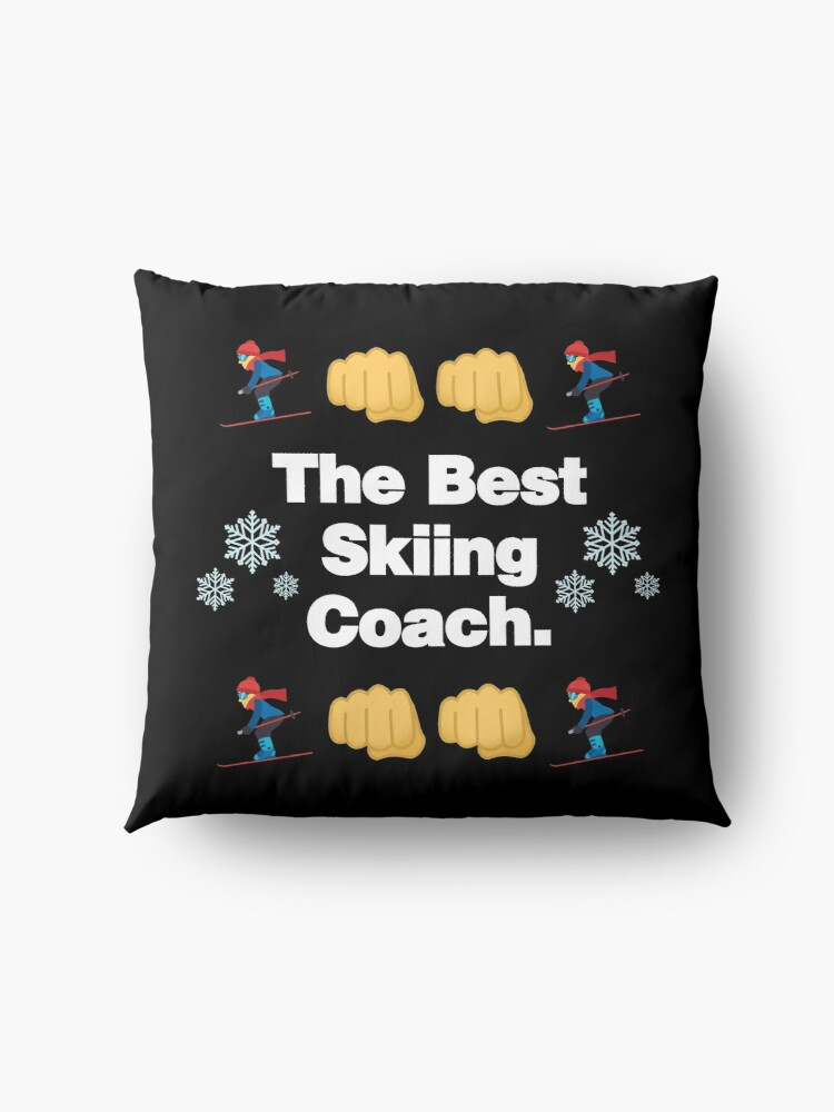 Alternate view of The Best Skiing Coach Emoji Funny Skier Saying Floor Pillow