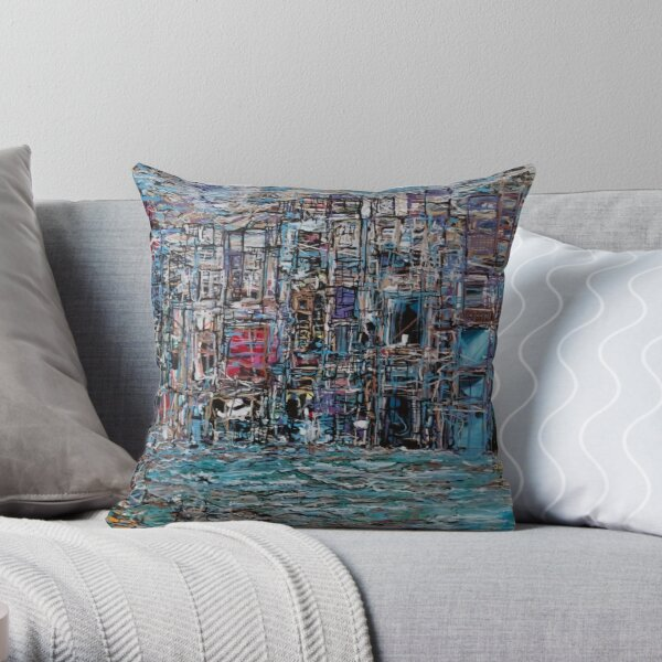 Abstract Marker Drawing of City by Chicago Artist Gary Bradley Throw Pillow