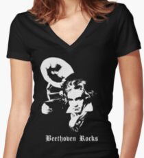 Beethoven Rocks! Women's Fitted V-Neck T-Shirt