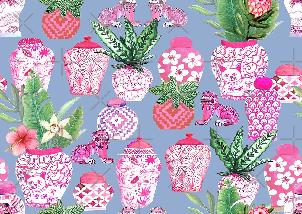 chinese ginger jars and foo dogs with palms, pink by MagentaRose