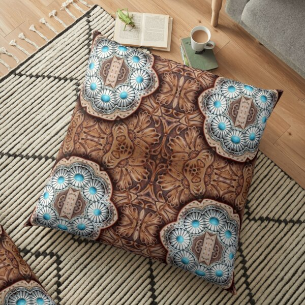 turquoise brown cowboy tribal Western country Tooled Leather Floor Pillow