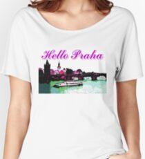 Beautiful Praha castle and karls bridge art Women's Relaxed Fit T-Shirt