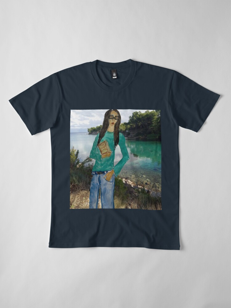 Alternate view of A GIRL HOLDING A BOOK  Premium T-Shirt