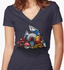 Anime Monsters Women's Fitted V-Neck T-Shirt