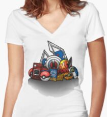 Anime Monsters Women's Fitted V-Neck T-Shirt