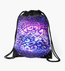 Mochila saco GALAXY TRIBAL GALAXY Colorido estampado de animales en negrita Deep Violet Berenjena Purple Blue Galaxy Abstract