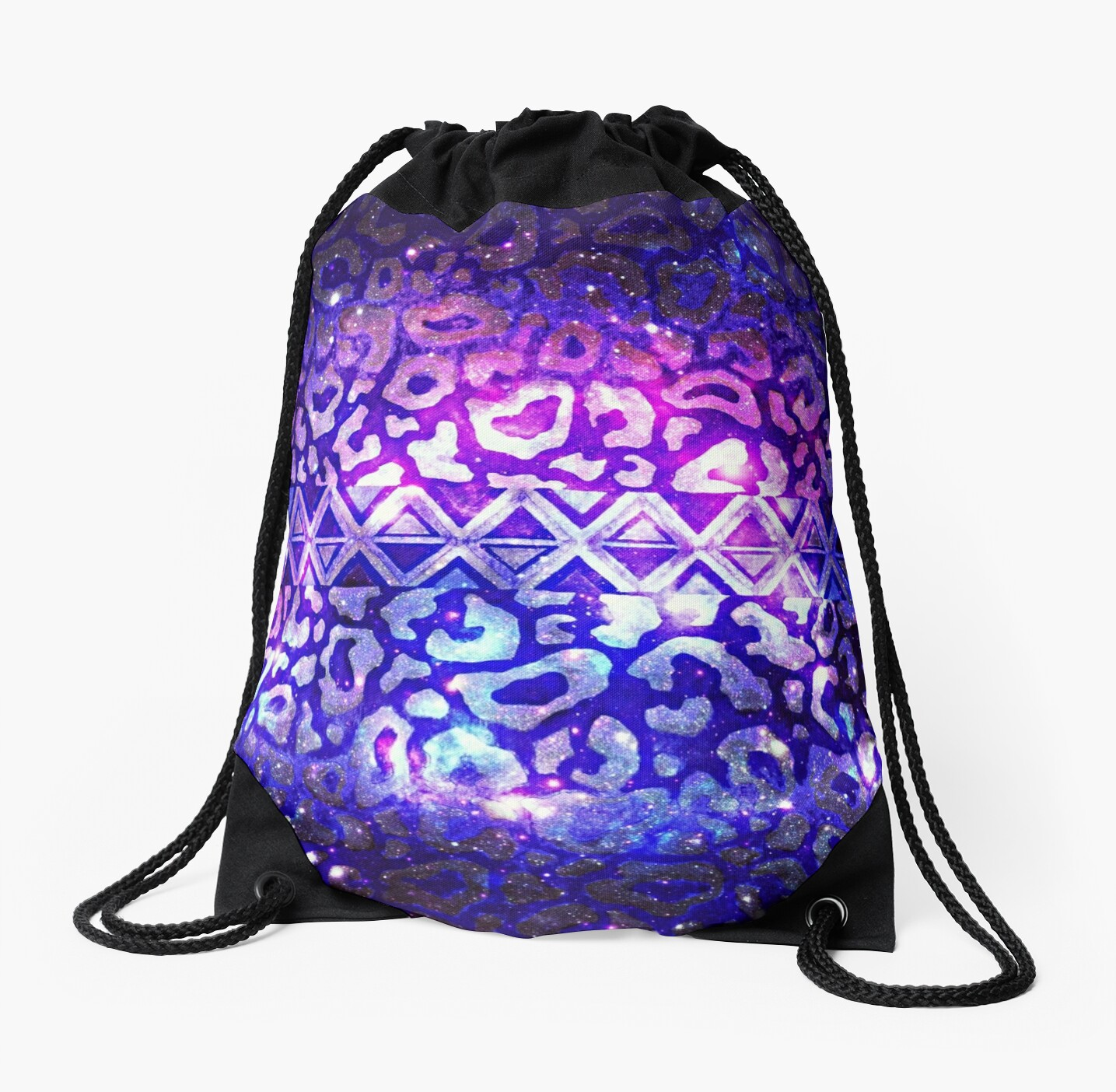 TRIBAL LEOPARD GALAXY Colorful Bold Animal Print Pattern Deep Violet Eggplant Purple Blue Galaxy Abstract by EbiEmporium