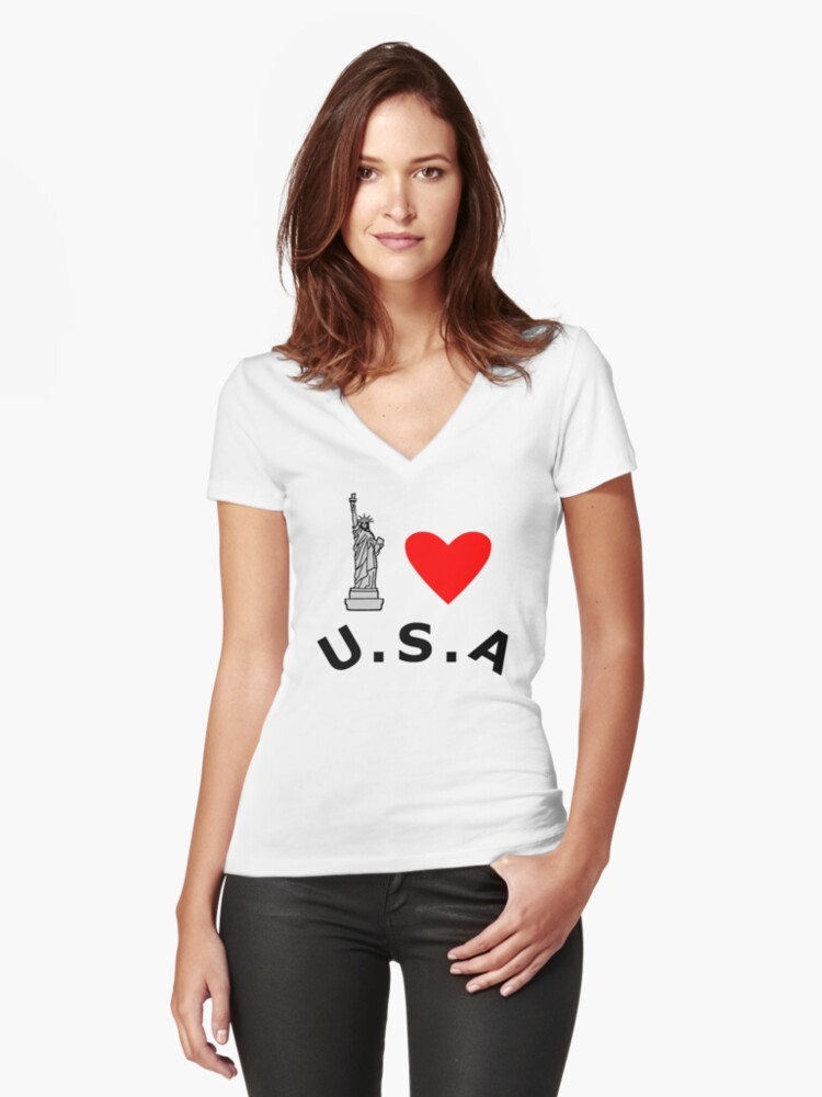I Heart United States of America Women's Fitted V-Neck T-Shirt Front
